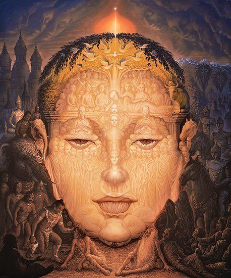 A surrealist illusion painting by Octavio Ocampo that creates a trippy portrait of Buddha out of people and things