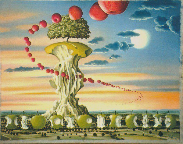A surrealist painting by the polish fantasy and science fiction artist Jacek Yerka of a landscape filled with apples