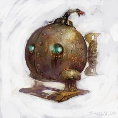 A ticking time bomb character design by artist and illustration Mike Puncekar