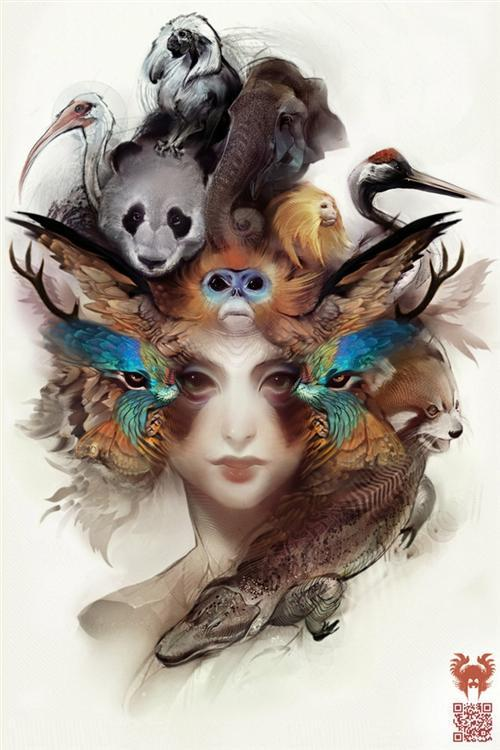 A trippy and surreal Photoshop painting by digital artist Andy android Jones of a woman surrounded by animals