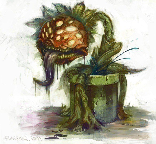 An illustrated painting by Mike Puncekar of a plant monster from the mario video games