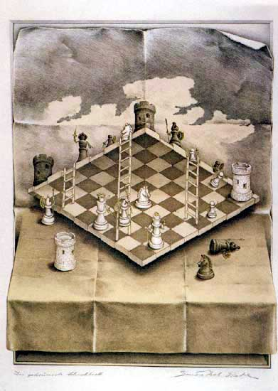 An optical illusion painting by Sandro del Prete of a chess board viewed simulataneously from above and below