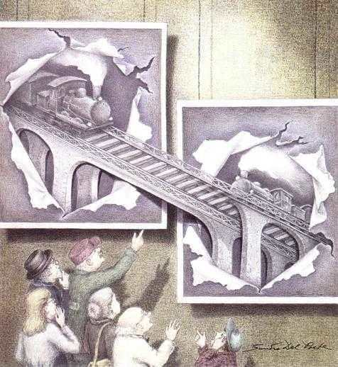 An optical illusion painting by Sandro del Prete that shows a magic train tunnel that is also a painting on the wall