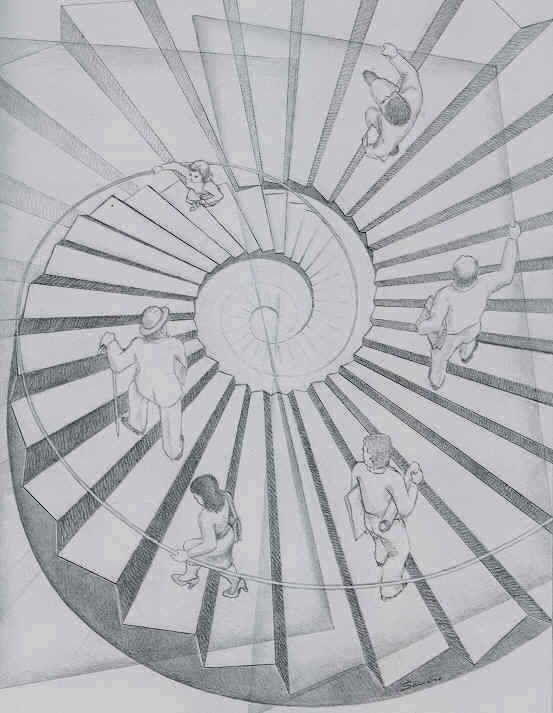 An optical illusion painting by Sandro del Prete that shows people walking up and down an impossible spiral staircase