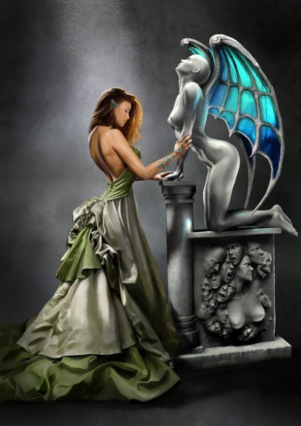 This Photoshop painting by Joerg Warda shows a gothic women admiring a statue of a vampire girl