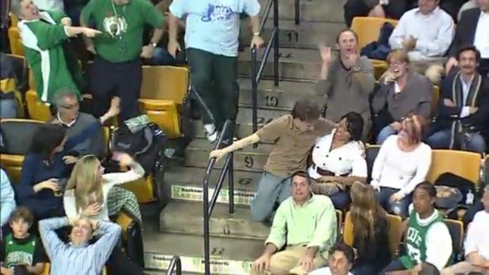 Unsolicited free hugs were delivered by an enthusiastic Celtics fan during his impromptu dance to Bon Jovi's Livin on a Prayer