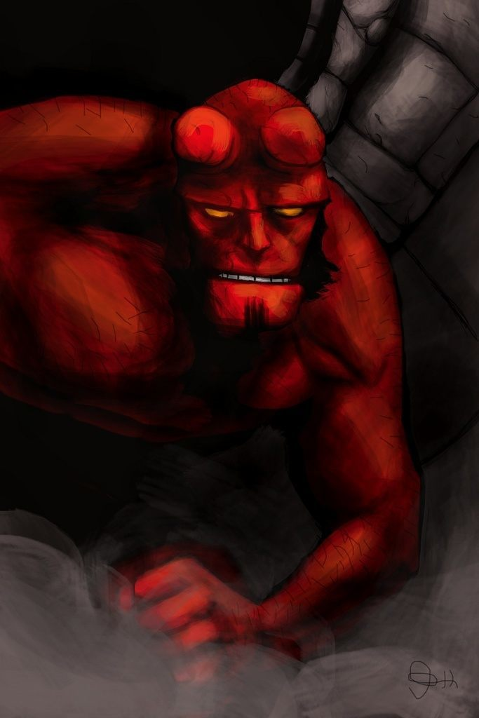 A Mike Miller iPhone painting of Hellboy using the iPhone art app Brushes
