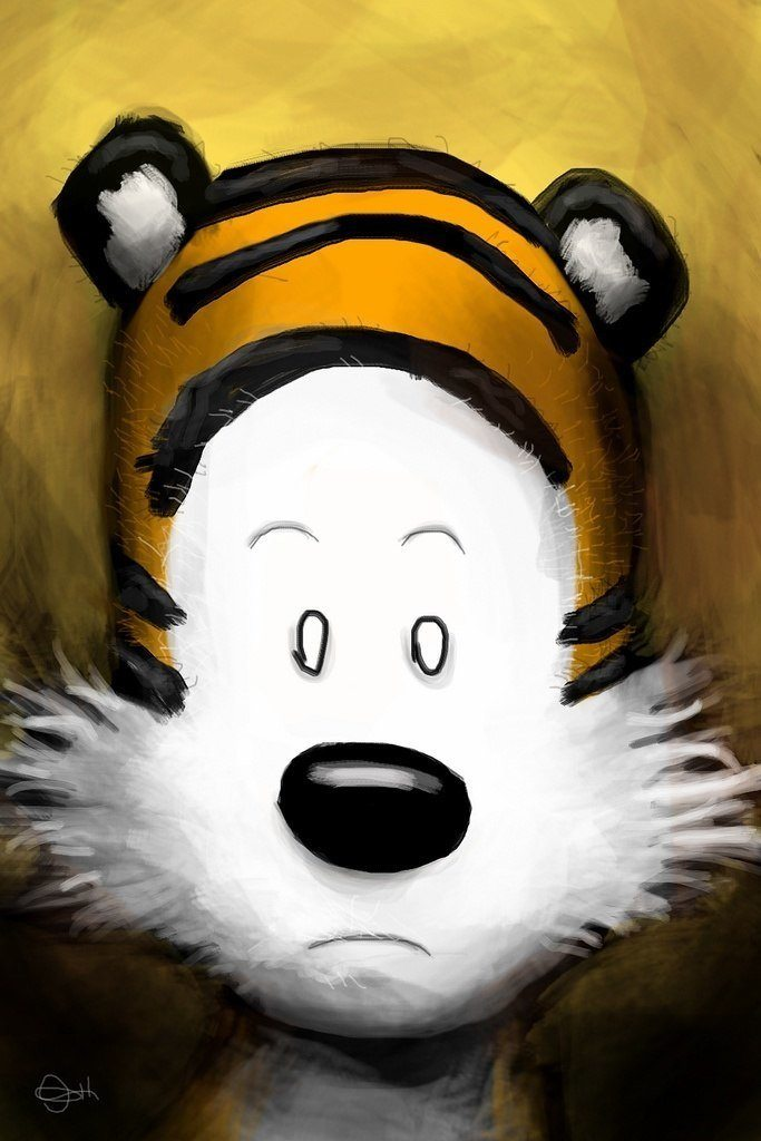 A Mike Miller iPhone painting of Hobbes using the iPhone art app Brushes
