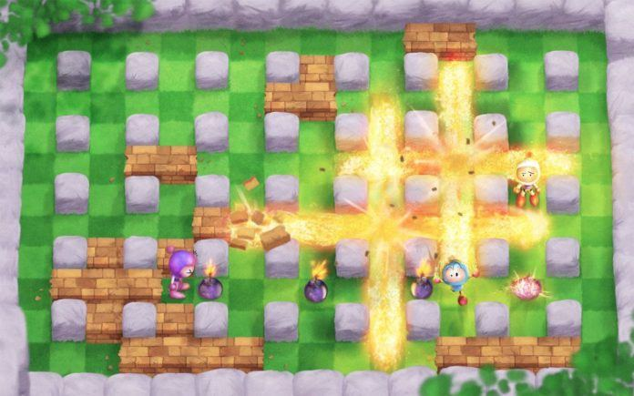 A digital fan art painting of a scene from the Bomberman video games by Mikael Aguirre