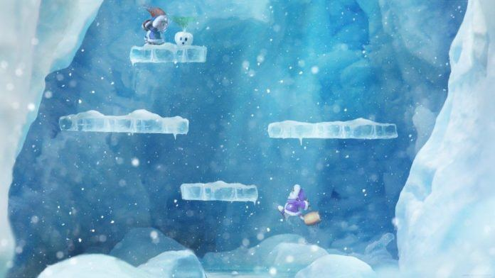 A digital fan art painting of a scene from the Ice Climber video games by Mikael Aguirre