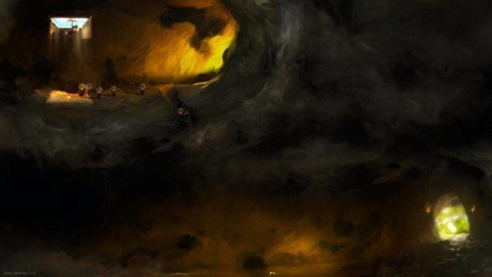 A digital fan art painting of a scene from the Lemmings video games by Mikael Aguirre