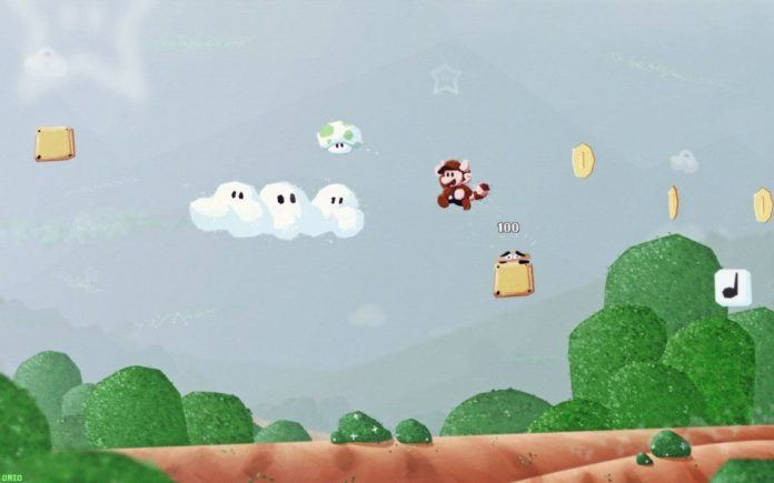 A digital fan art painting of a scene from the Mario video games by Mikael Aguirre