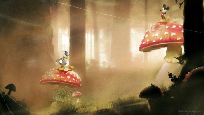 A digital fan art painting of a scene from the Mickey and Donald video games by Mikael Aguirre