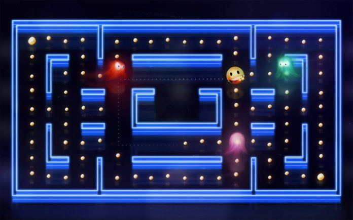 A digital fan art painting of a scene from the Pacman video games by Mikael Aguirre