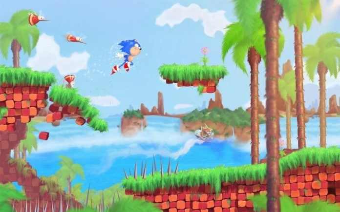 A digital fan art painting of a scene from the Sonic the Hedgehog video games by Mikael Aguirre