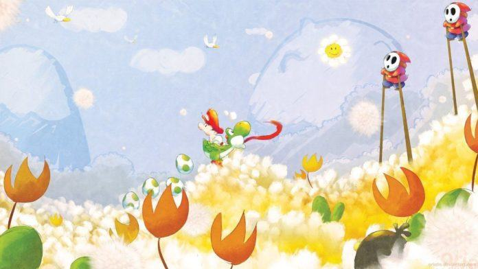 A digital fan art painting of a scene from the Yoshi video games by Mikael Aguirre