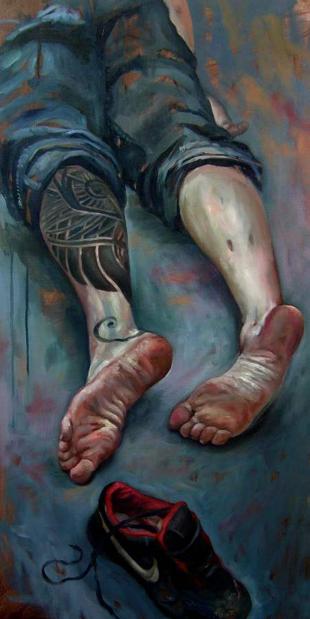 A fine art painting by Jakub Kujawa of a guy with tattooed legs blown out of his shoes