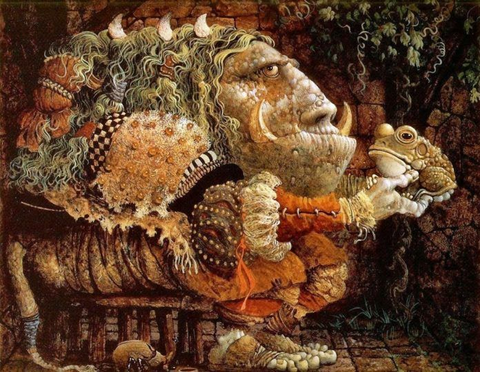 A funny fantasy and surrealism painting by James Christensen of a beast with a toad