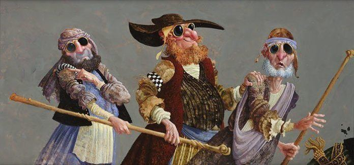 A funny fantasy and surrealism painting by James Christensen of a blind beggar leading the blind