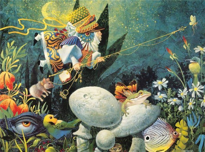 A funny fantasy and surrealism painting by James Christensen of a fairy going fishing