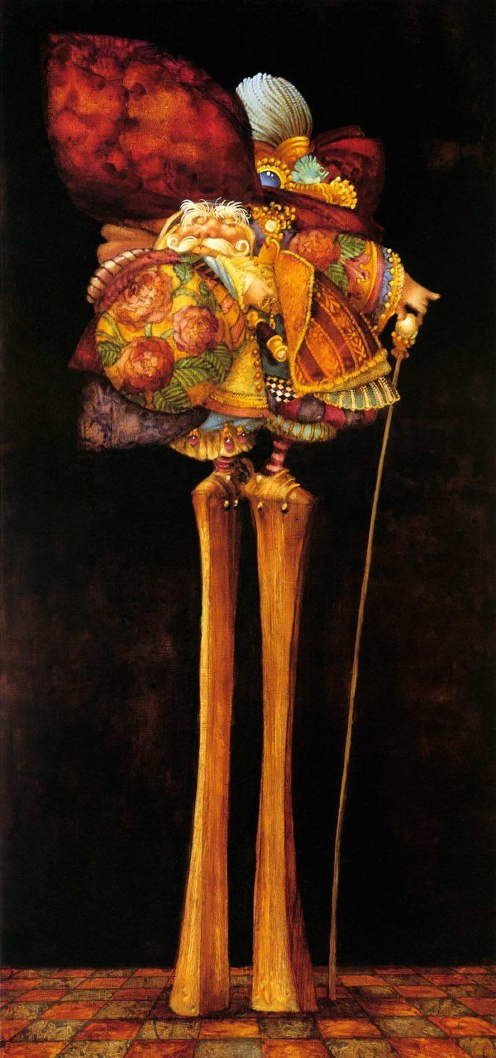 A funny fantasy and surrealism painting by James Christensen of a fancy man with very high heels