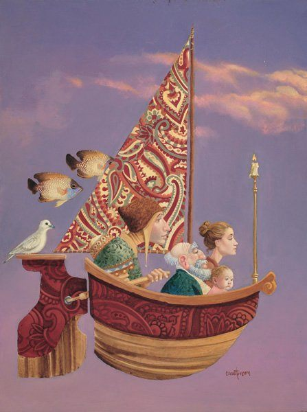 A funny fantasy and surrealism painting by James Christensen of a flying boat with paisley sails