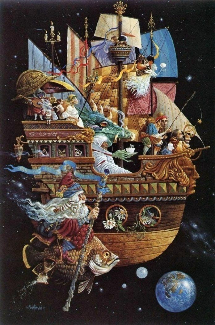A funny fantasy and surrealism painting by James Christensen of a flying ship crewed by strange creatures