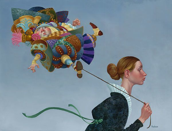 A funny fantasy and surrealism painting by James Christensen of a puffy guy in pantaloons on a string