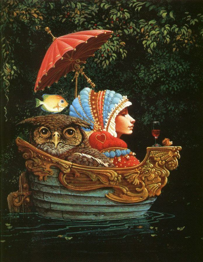 A funny fantasy and surrealism painting by James Christensen of an elf girl in a boat with an owl and a flying fish