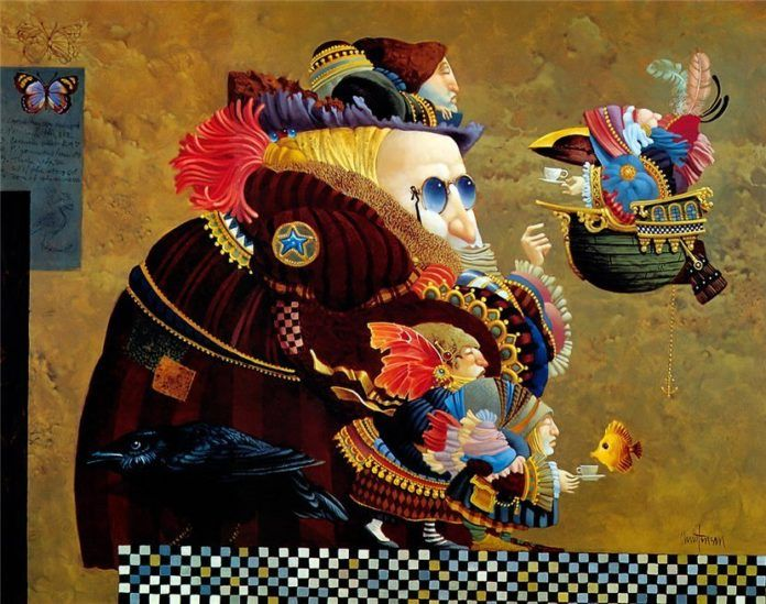 A funny fantasy and surrealism painting by James Christensen that has a distinct Monty Python appeal