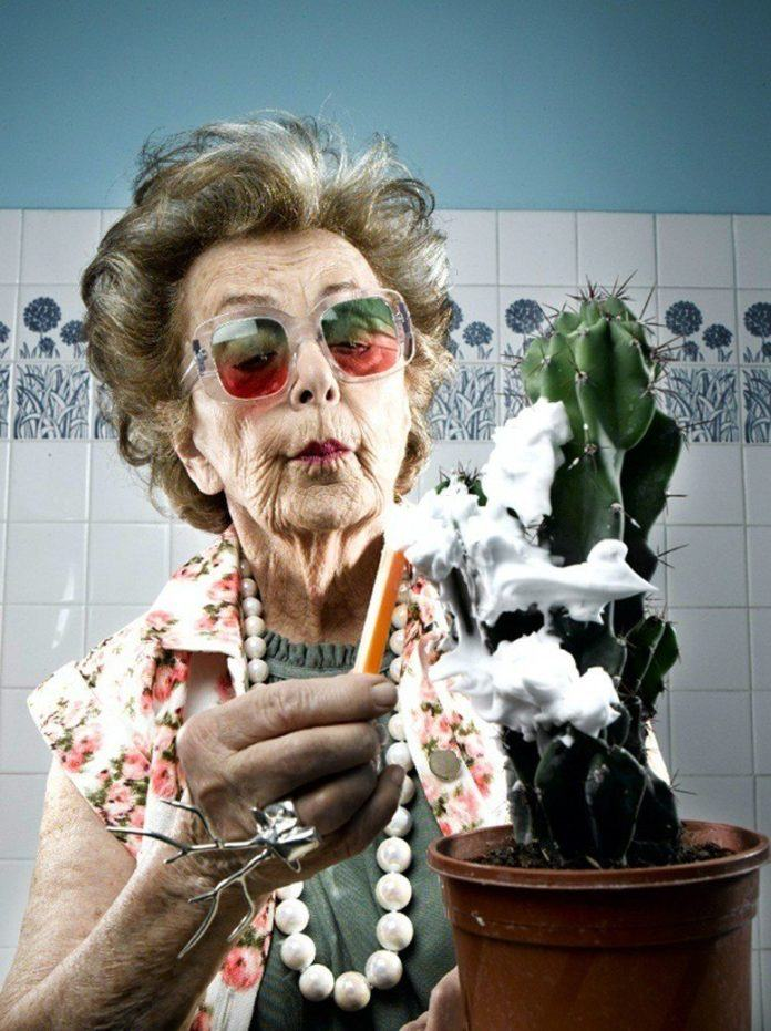 A funny photo by Sacha Goldberger of his grandmother shaving a cactus plant