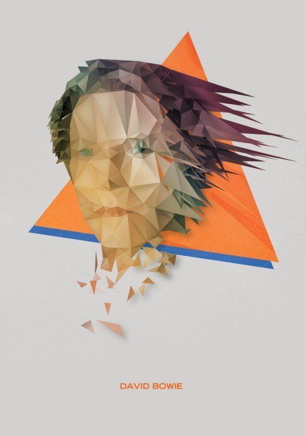 A painted portrait of David Bowie by Nicola Felasquez Felaco that combines fine art and graphic design techniques