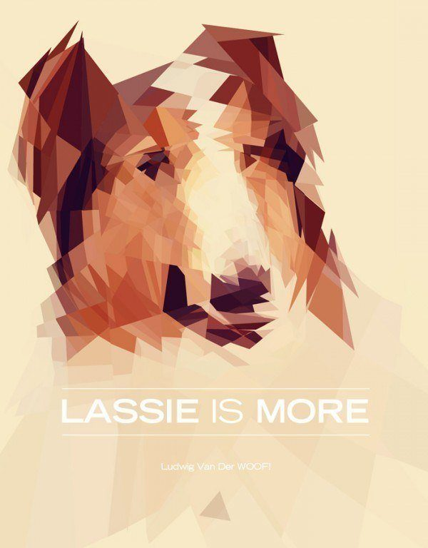 A painted portrait of Lassie by Nicola Felasquez Felaco that combines fine art and graphic design techniques