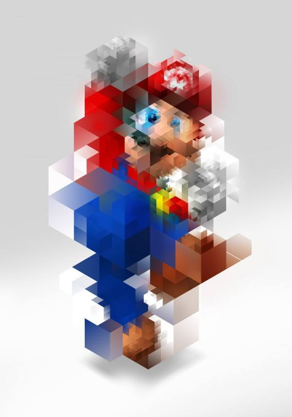 A painted portrait of Super Mario by Nicola Felasquez Felaco that combines fine art and graphic design techniques