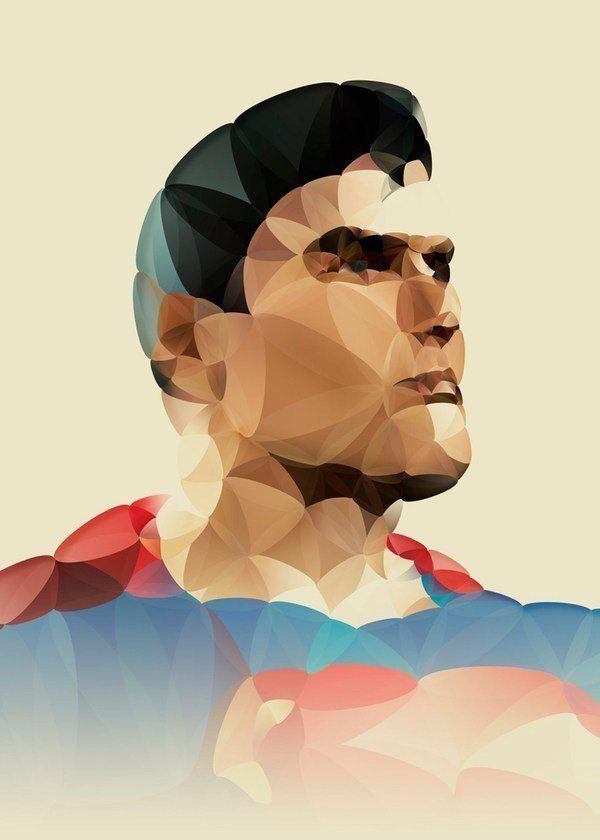 A painted portrait of Superman by Nicola Felasquez Felaco that combines fine art and graphic design techniques