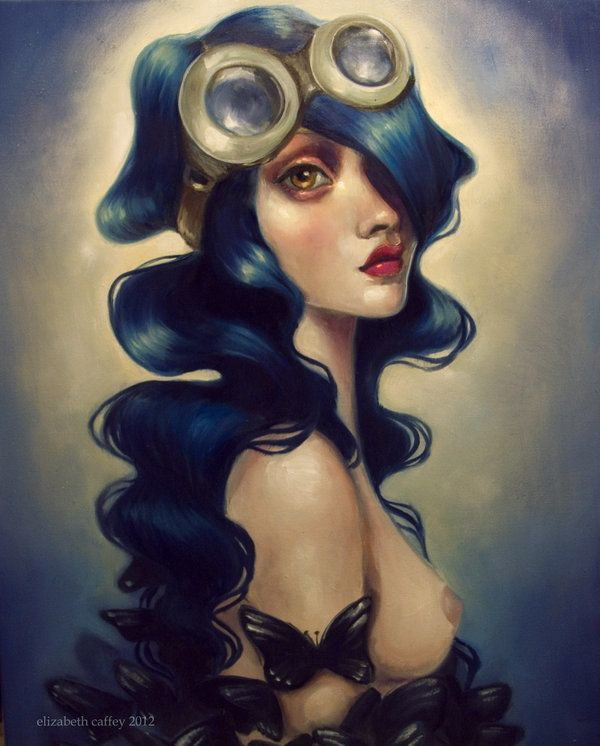 A pop surrealism fine art painting by Elizabeth Caffey of a beautiful woman with goggles and butterflies