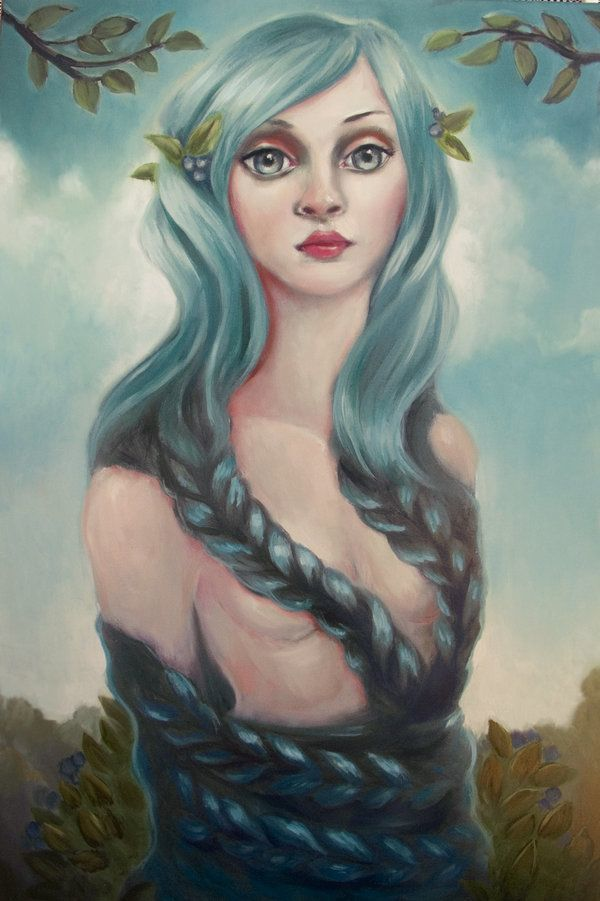 A pop surrealism fine art painting by Elizabeth Caffey of a beautiful woman wrapped up in her own hair