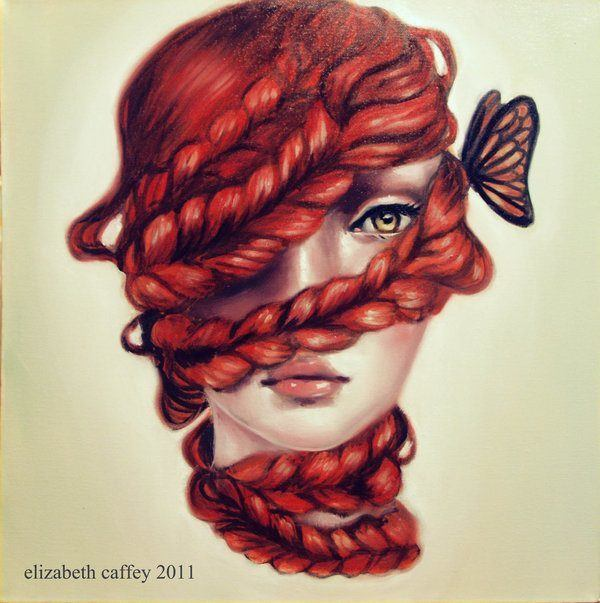 A pop surrealism fine art painting by Elizabeth Caffey of a redhead girl with plaits wrapped around her face and a butterfly