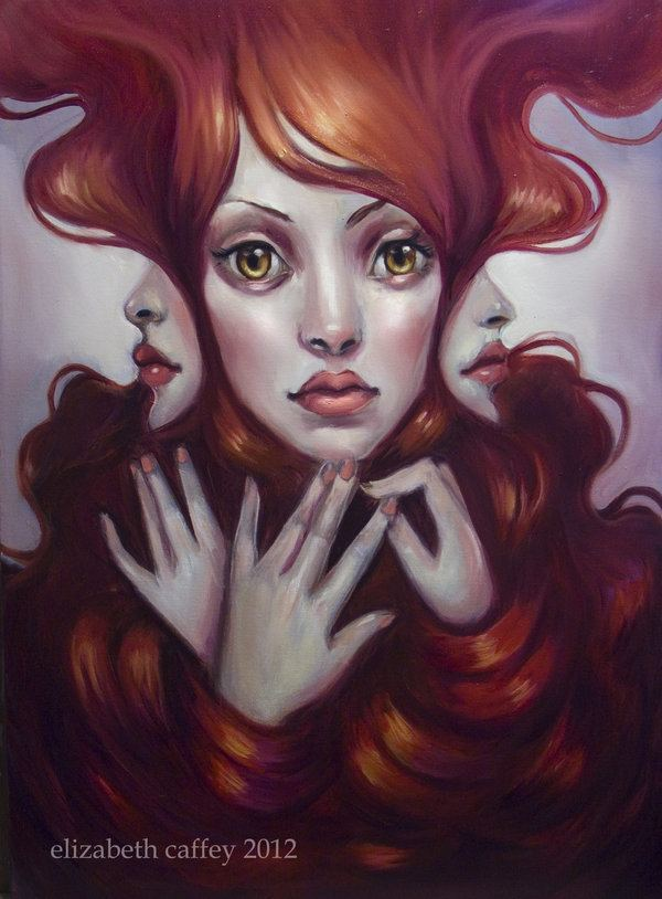 A pop surrealism fine art painting by Elizabeth Caffey of a redhead woman with three faces