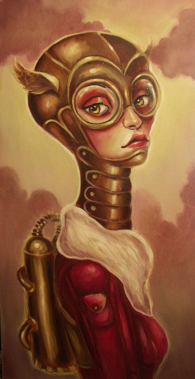 A pop surrealism fine art painting by Elizabeth Caffey of a space cadet girl with steampunk gear