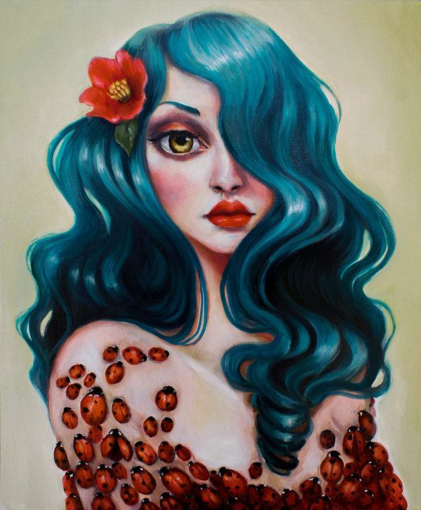 A pop surrealism fine art painting by Elizabeth Caffey of a woman with blue hair with ladybugs all over her body