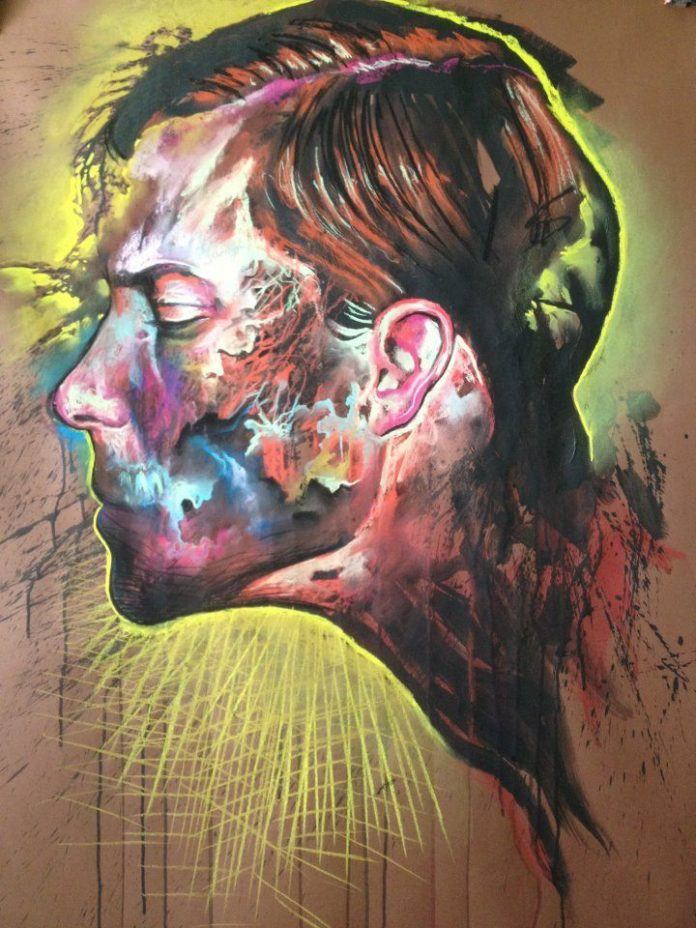 A self portrait in an abstract, surrealism painting style by Polish artist Jakub Kujawa