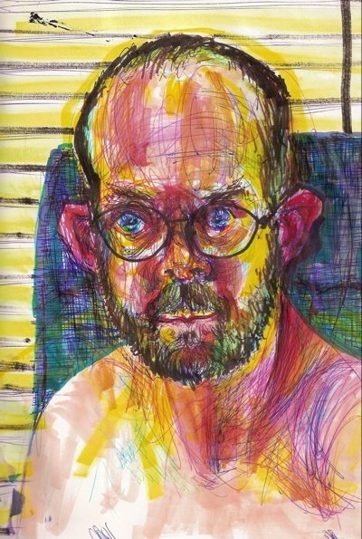 A self-portrait on drugs by Brian Lewis Saunders while under the influence of ritilin