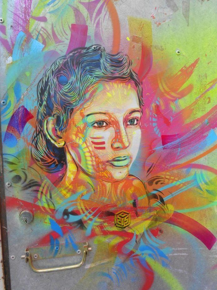 A stencil and spray paint graffiti art work by urban street artist C215