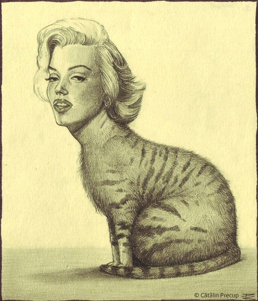 A surrealist drawing by Cătălin Precup of Marilyn Monroe with a cats body