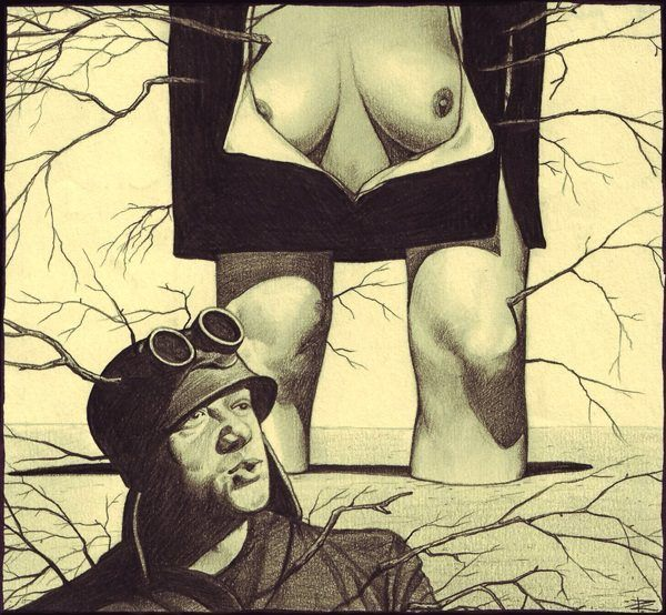 A surrealist drawing by Cătălin Precup of a nude woman and a WW1 soldier with plants growing out of them