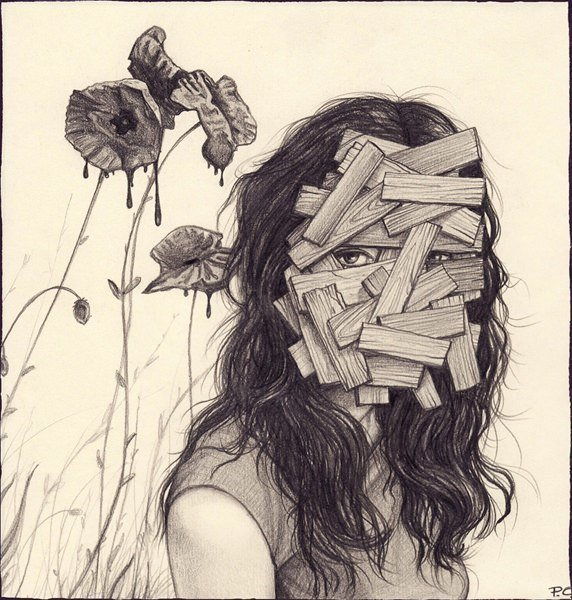 A surrealist drawing by Cătălin Precup of a woman with a boarded up face and poppy flowers