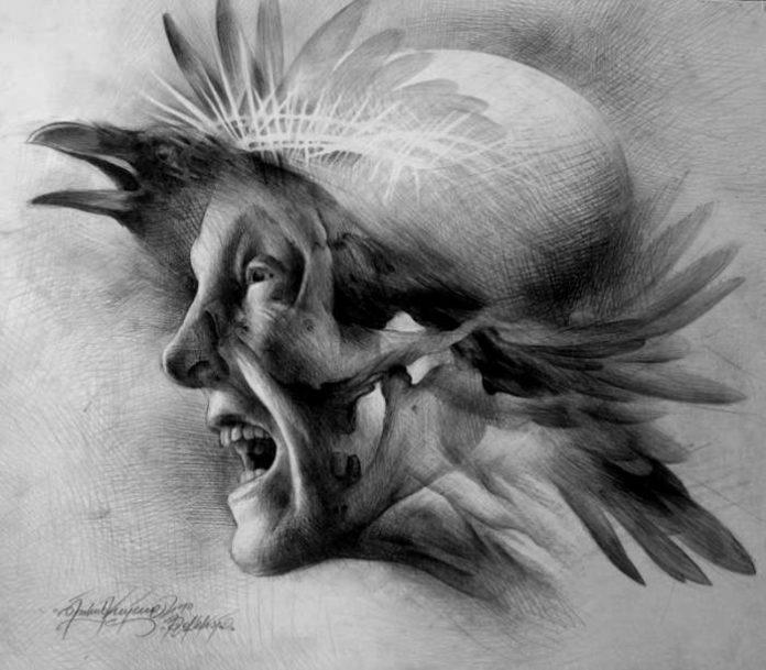 A surrealist drawing by Polish artist Jakub Kujawa, a close-up image of a man shouting