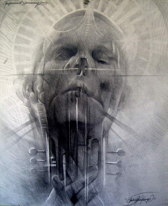 A surrealist drawing by Polish artist Jakub Kujawa that combines a face, skull and guitar