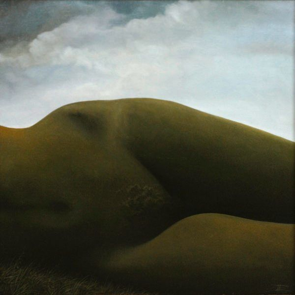 A surrealist painting by Cătălin Precup of a landscape formed in the shape of a nude womans body